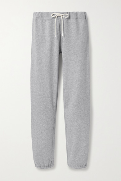 Tory Sport French Cotton-blend Terry Track Pants In Light Gray