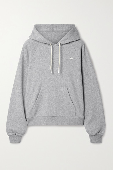 Tory Sport French Cotton-terry Hoodie In Light Gray