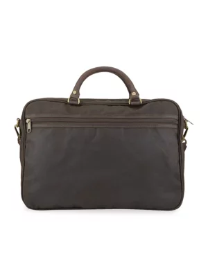 Barbour Wax Finish Briefcase In Olive