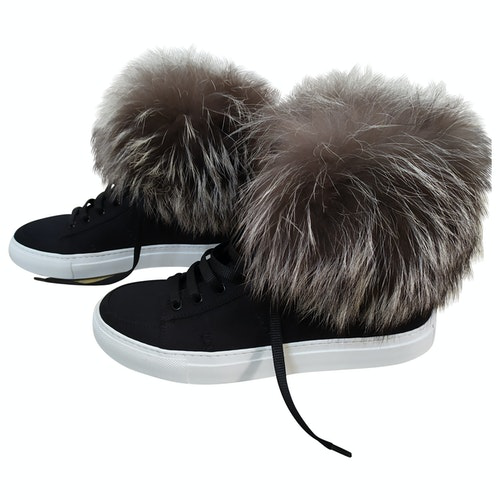 Yves Salomon Black Fur Trainers