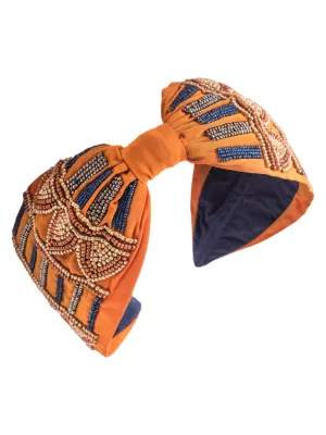 Namjosh Hand Embroidered Sequin Headband In Mustard