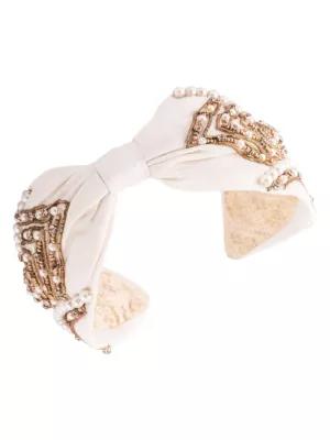 Namjosh Pearl Embellished Silk Headband In Ivory