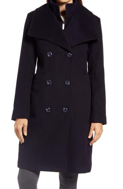 Ellen Tracy Double Breasted Wool Blend Coat With Bib In Navy