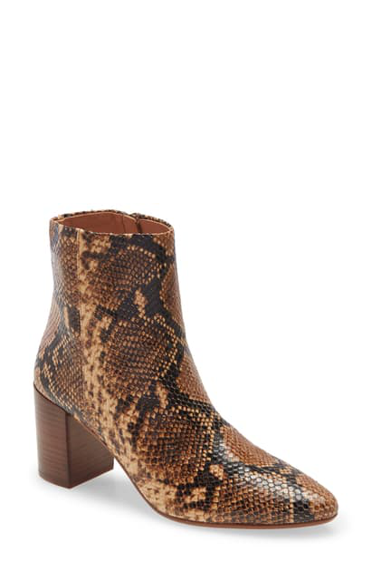 Madewell The Fiona Bootie In Wood Ash Multi Snake Print