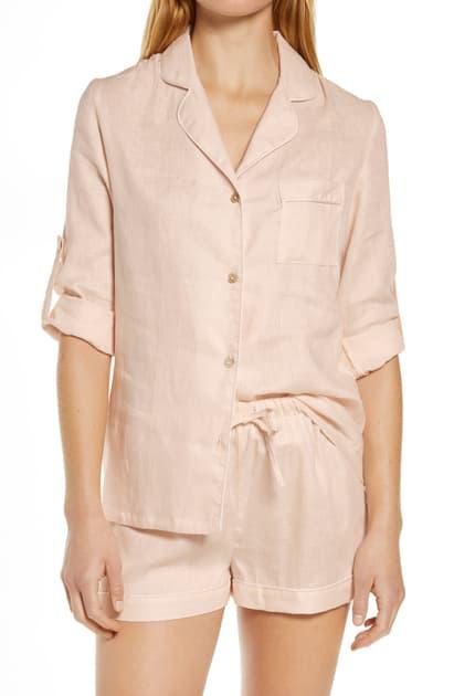 Homebodii Linen Short Pajamas In Blush