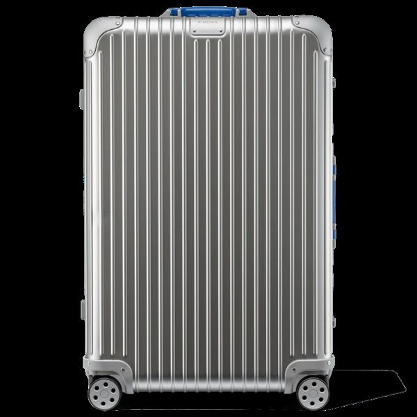 Rimowa Original Original Check-in L Suitcase In Silver And Blue - Aluminum - 31,2x20,1x10,7 Polished Alumin In Silver & Blue