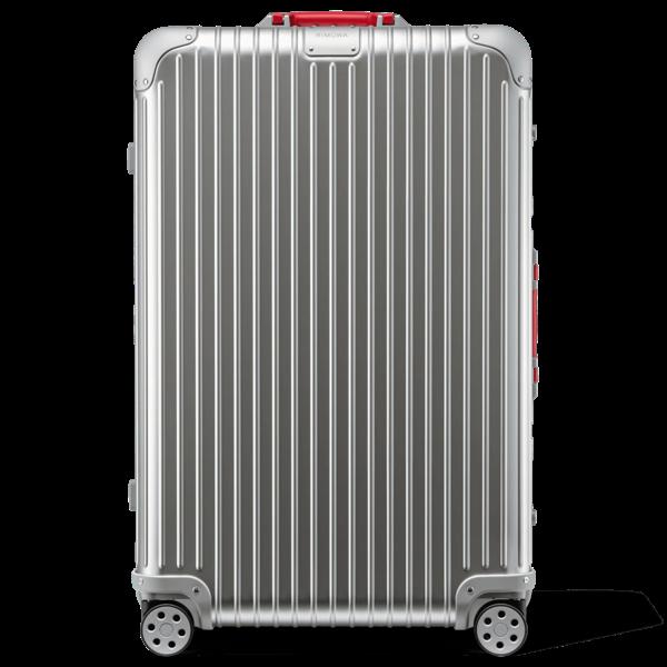 Rimowa Original Original Check-in L Suitcase In Silver And Red - Aluminum - 31,2x20,1x10,7 Polished Aluminu