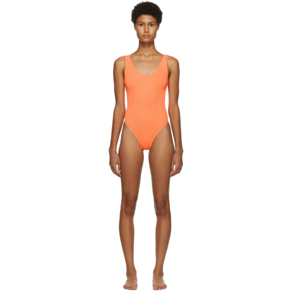 Bound By Bond-eye The Mara Ribbed One-piece Swimsuit In Neon Orange