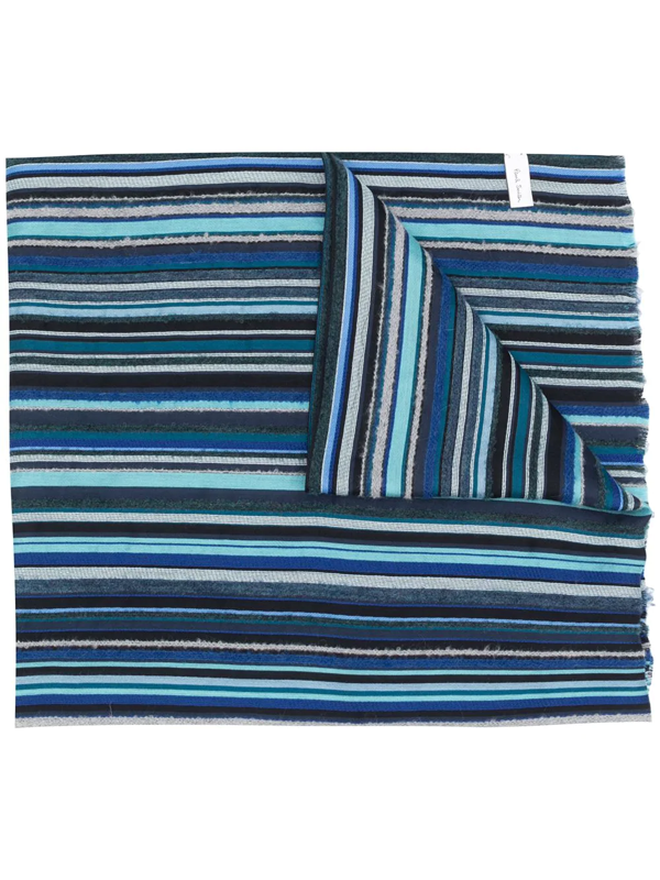 Ps By Paul Smith Long Striped Scarf In Blue