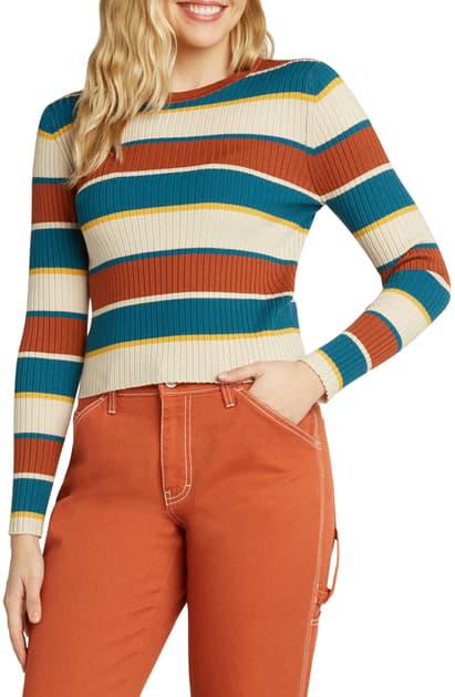Dickies Stripe Rib Crop Sweater In Auburn/ Deep Sky Stripe