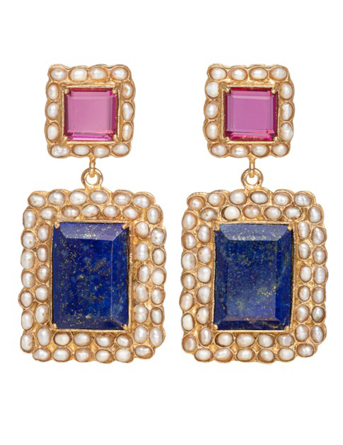 Christie Nicolaides Rosalina Earrings Blue & Pink In Multi Color