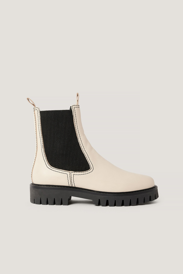 Na-kd Seam Detailed Leather Chelsea Boots White