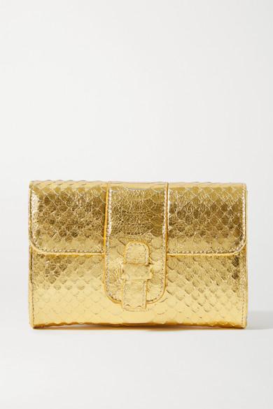 Ximena Kavalekas Rita Metallic Snake-effect Leather Clutch In Gold