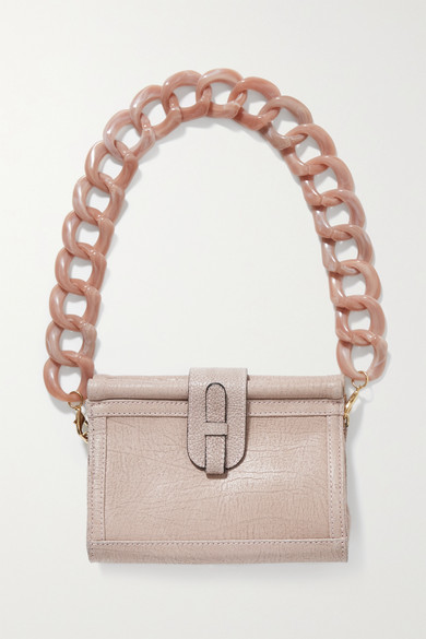 Ximena Kavalekas Carmen Textured-leather Shoulder Bag In Blush