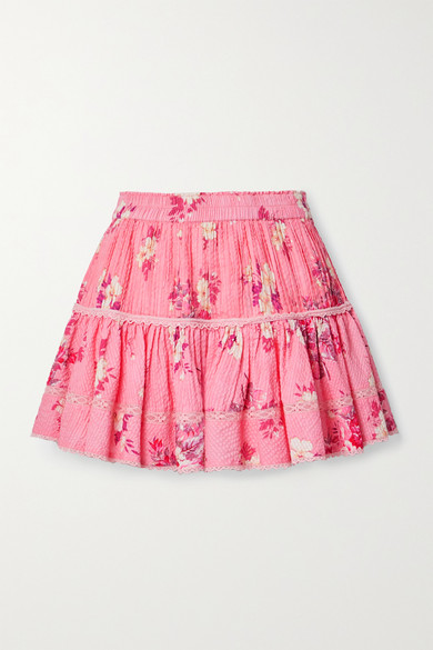 Loveshackfancy Jennings Crochet-trimmed Floral-print Cotton-seersucker Mini Skirt In Antique Rose
