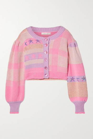 Loveshackfancy Bedford Cropped Cotton-blend Jacquard Cardigan In Baby Pink