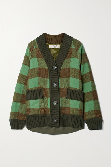 Sea Clement Paneled Twill And Wool And Cotton-blend Jacquard Cardigan In Army Green