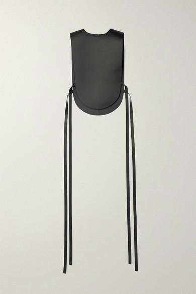 Loewe Tie-detailed Leather Vest In Black