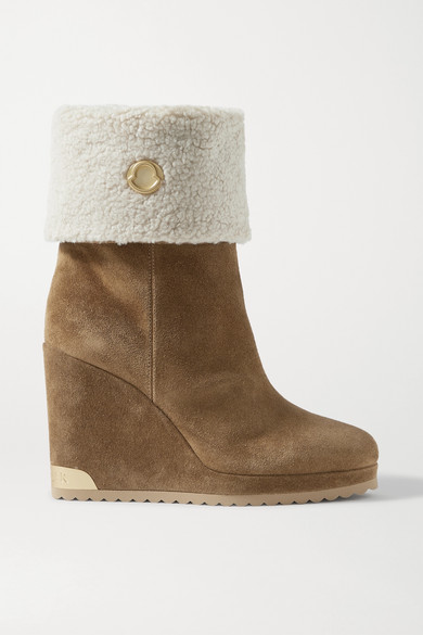 Moncler W Short Shearling-lined Suede Wedge Ankle Boots In Tan