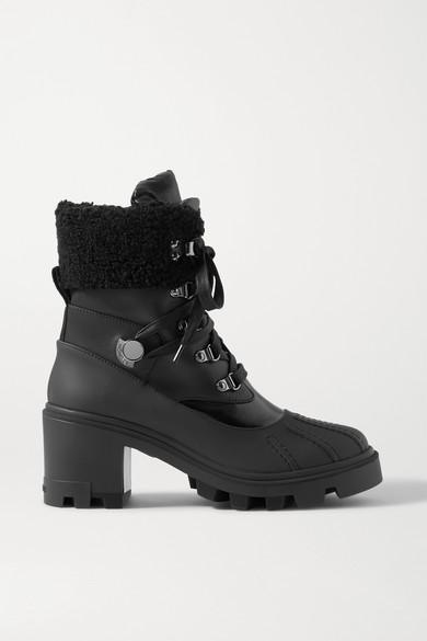 Moncler Corinne Leather And Faux Shearling-trimmed Rubber Ankle Boots In Black