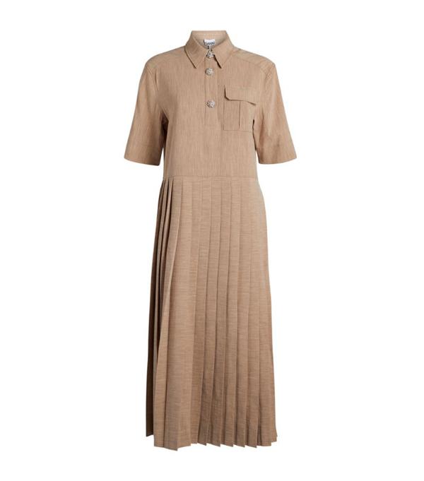 Ganni Pleated Shirt Dress