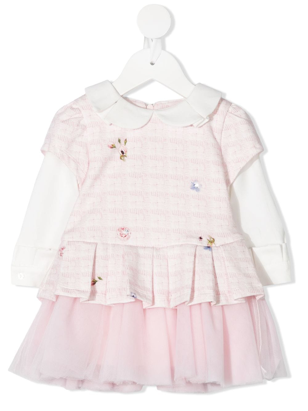 Lapin House Babies' Floral-print Layered Dress In Pink