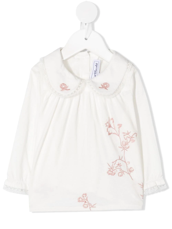 Tartine Et Chocolat Babies' Floral Embroidered Blouse In White
