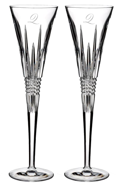 Waterford Lismore Diamond Set Of 2 Monogram Lead Crystal Champagne Flutes In Clear