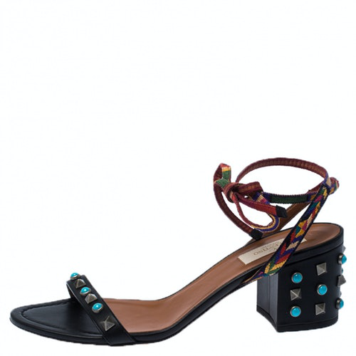 Valentino Garavani Rockstud Black Leather Sandals