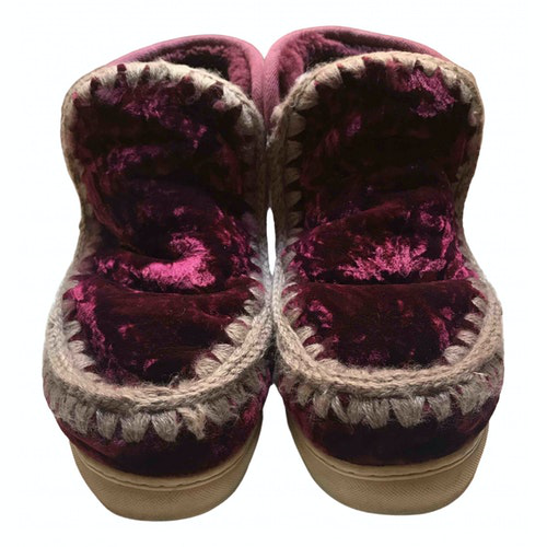 Mou Burgundy Velvet Boots