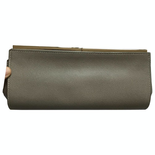 Valextra Camel Leather Clutch Bag