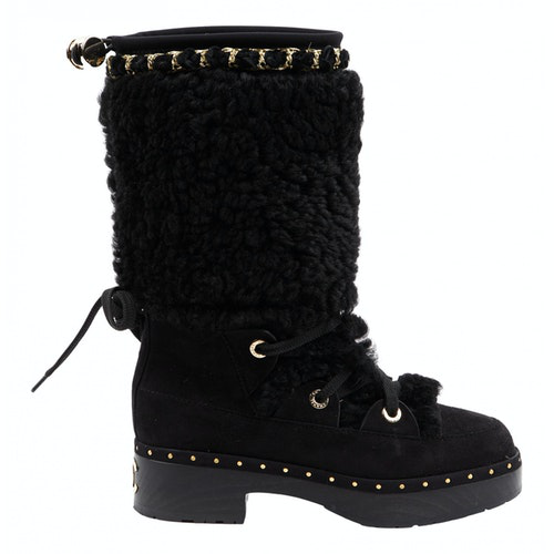 Chanel Black Suede Ankle Boots