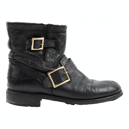 Jimmy Choo Youth Black Leather Ankle Boots