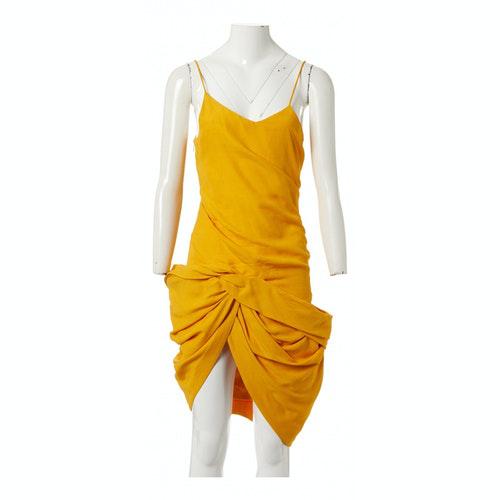 Jacquemus La Bomba Yellow Cotton Dress