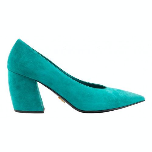 Prada Green Suede Heels