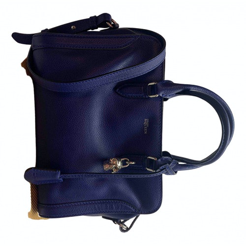 Alexander Mcqueen Skull Blue Leather Handbag