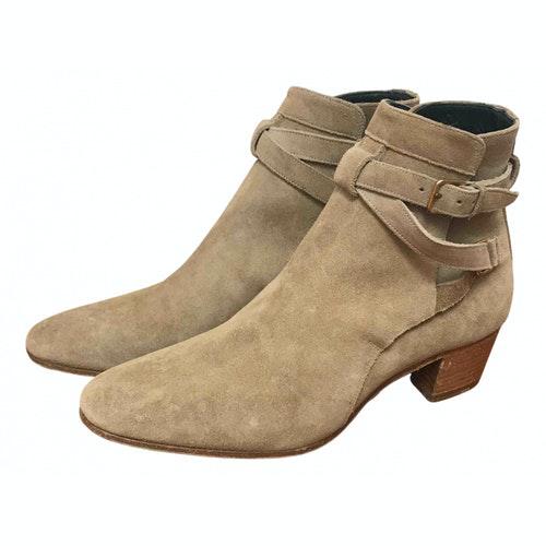 Saint Laurent Blaze Beige Suede Ankle Boots