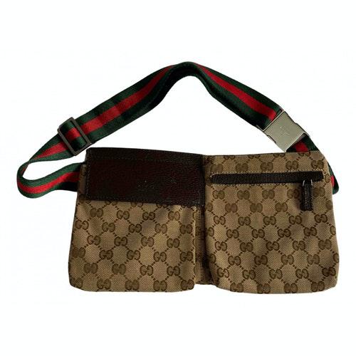 Gucci Brown Cloth Clutch Bag