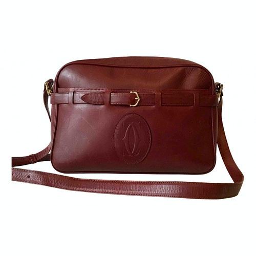 Cartier Burgundy Leather Handbag