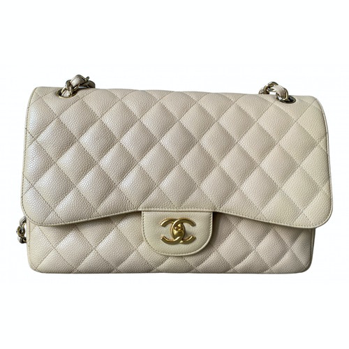 Chanel Timeless/classique Beige Leather Handbag