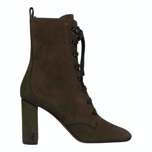 Saint Laurent Lou Green Suede Ankle Boots