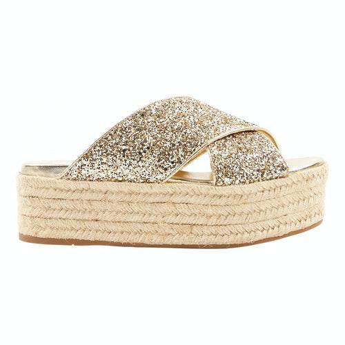 Miu Miu Gold Glitter Sandals