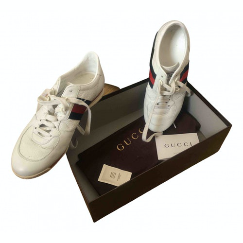 Gucci White Leather Trainers