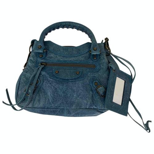 Balenciaga First Blue Leather Handbag