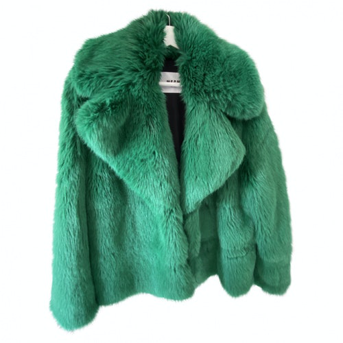 Msgm Green Faux Fur Coat