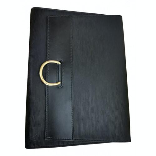 Louis Vuitton Black Leather Clutch Bag