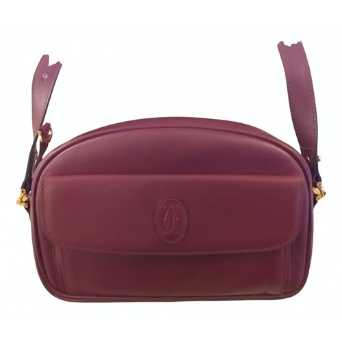 Cartier Burgundy Leather Handbag