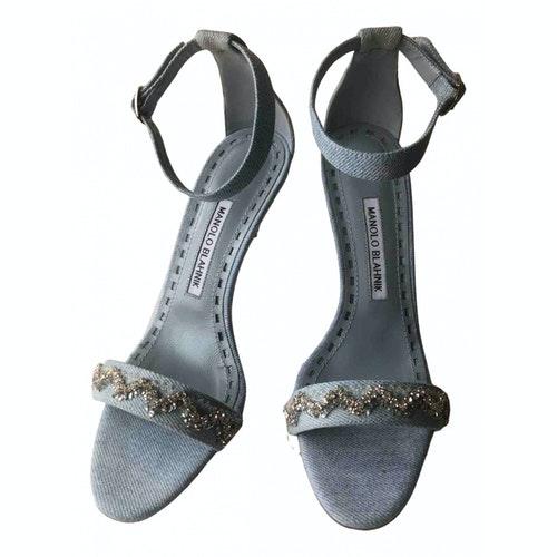 Manolo Blahnik Blue Cloth Sandals