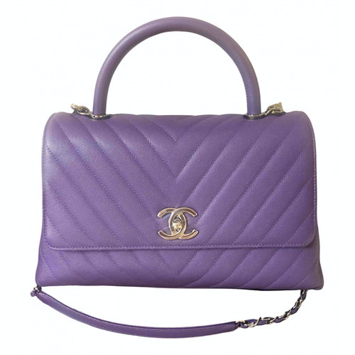 Chanel Coco Handle Purple Leather Handbag