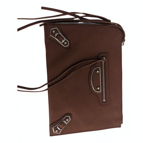 Balenciaga Classic Metalic Brown Leather Clutch Bag
